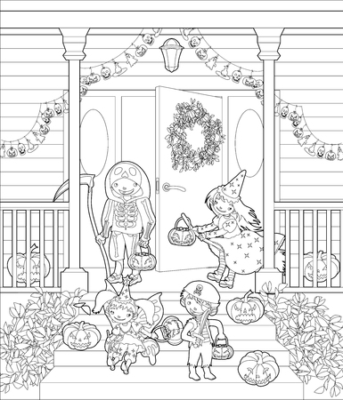 front porch: Coloring pages. Costumed kids dressed up for trick or treat, stand at the stairs. Halloween decorated front door and porch with pumpkins and wreath. Vector illustration. Illustration