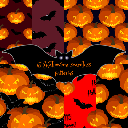 repeating background: Set of Halloween seamless backgrounds with pumpkins and bats. All Saints Eve seamless pattern.