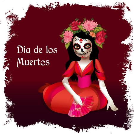 ¢  day of the dead       ¢: Azúcar cráneo de la muchacha. Tarjeta del día de Muertos o póster. Ilustración Santa Muerte. Vectores
