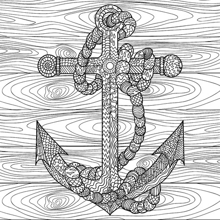 antistress: Hand drawn illustration of an anchor and rope in the zentangle style. Adult antistress coloring page. Vector illustration.