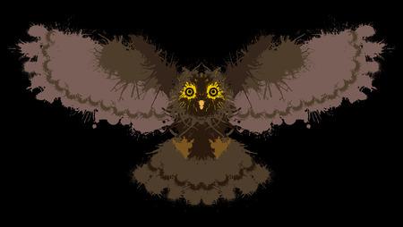 depressive: Owl painted blots. Unusual grunge design. Ink blots creating a owl silhouette.