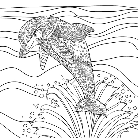 with ocean: Happy dolphin with high details. Adult antistress coloring page. Black white hand drawn doodle oceanic animal.  Sketch for tattoo, poster, print, t-shirt in zentangle style.