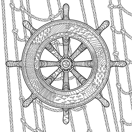 old page: Hand drawn illustration of an helm in the zentangle style. Adult antistress coloring page with marine handwheel. Vector illustration.
