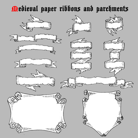 Hand drawn Ribbons and parchments in medieval engraving style. Set of retro decorative elements. Vector illustrations. 向量圖像