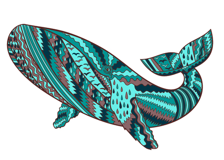 humpback: Hand drawn humpback whale. Isolated illustration with high details in zentangle style. Marine collection.