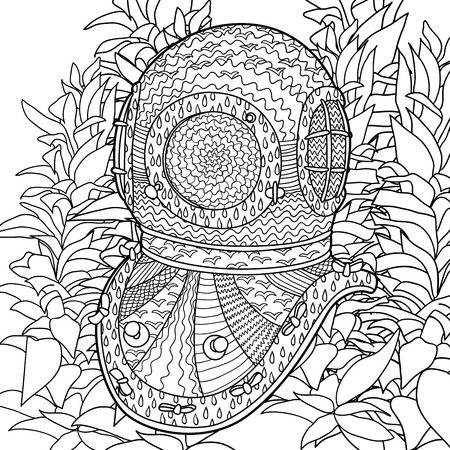 Antique Divers Helmet With High Details. Coloring Pages For Adult ...