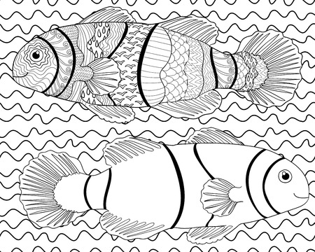 oceanic: Clownfish with high details. Adult antistress or children coloring page. Black white hand drawn doodle oceanic animal.