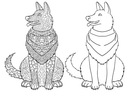 clipart animals: Dog wearing bandana with high details. Adult antistress or children coloring page. Hand drawn animal doodle.