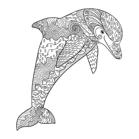 adults: Happy dolphin with high details. Adult antistress coloring page. Black white hand drawn doodle oceanic animal.
