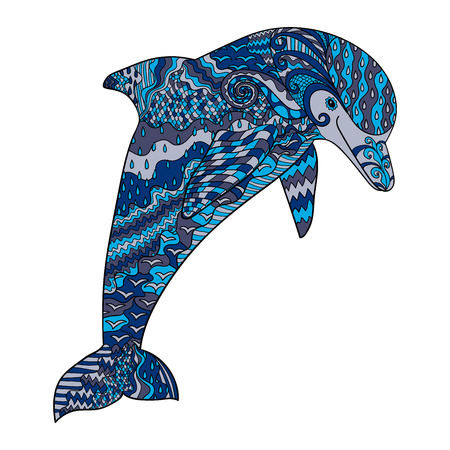 oceanic: Happy dolphin with high details. Adult antistress coloring page. Colored hand drawn doodle oceanic animal. Illustration