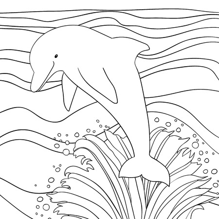 coloring page: Happy dolphin with sea background. Coloring page for children. Black and white hand drawn doodle oceanic animal.