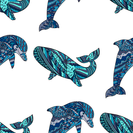 wrapping animal: Oceanic animal seamless pattern. Hand drawn tile texture with dolphin and humpback whale.Template for textile, wrapping or scrapbook paper print.