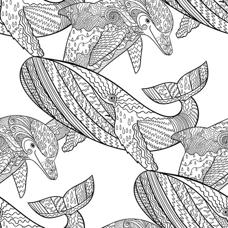 oceanic: Oceanic animal seamless pattern. Hand drawn tile texture with dolphin and humpback whale.Template for textile, wrapping or scrapbook paper print.