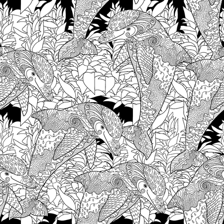 wrapping animal: Oceanic animal seamless pattern. Hand drawn tile texture with dolphin.Template for textile, wrapping or scrapbook paper print.