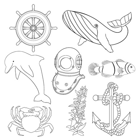 oceanic: Set of illustrations for children coloring pages. Black and white marine animals and objects. Hand drawn collection with oceanic animals and ship equipment.