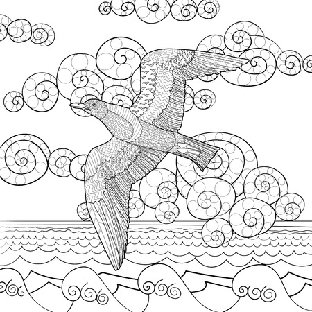 oceanic: Flying seagull with high details. Adult antistress coloring page. Black white hand drawn doodle oceanic bird.