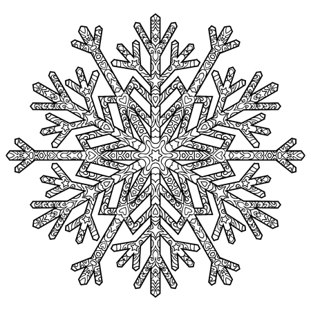 Hand drawn antistress snowflake. Template for cover, poster, t-shirt or tattoo. Winter coloring pages for adult art therapy.  Illustration