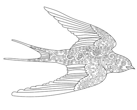 Happy swallow with high details. Adult antistress coloring page. Black and white hand drawn doodle bird. Sketch for tattoo, poster, print, t-shirt in style.