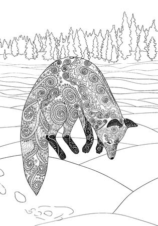 zorro: Caza de zorros. Colorear de adultos para la terapia del arte antiestr�s. Saltando zorro en estilo. Plantilla de la camiseta, cartel o portada