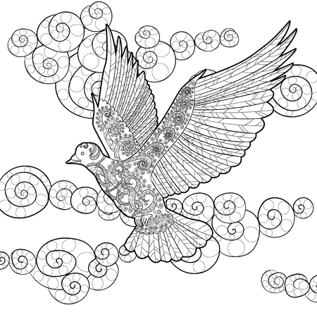 dove in flight: Flying dove in the sky. Adult antistress coloring page. Black white hand drawn doodle bird. Symbol of the Peace. Sketch for tattoo, poster, print, t-shirt   Vector. Illustration
