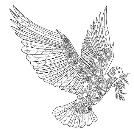 Fliegende Taube mit Ölzweig. Erwachsene Anti-Stress-Färbung Seite. Schwarz-weißer Hand Doodle Vogel gezeichnet. Symbol des Friedens. Skizze für Tätowierung, Plakat, Druck, T-Shirt Vector.