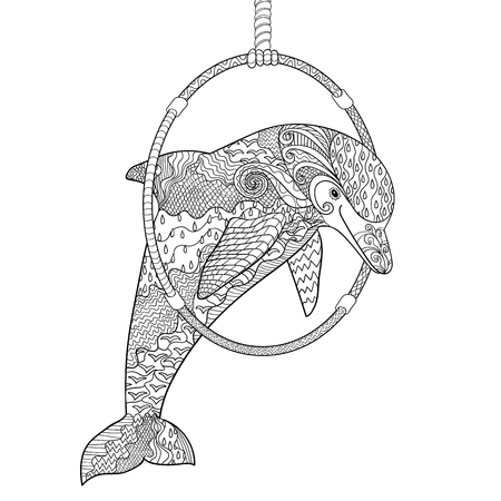 dolphinarium: Dolphin jumping through a ring in the Dolphinarium. Adult antistress coloring page. Hand drawn doodle for art therapy. Sketch for tattoo, poster, print, t-shirt in   Illustration