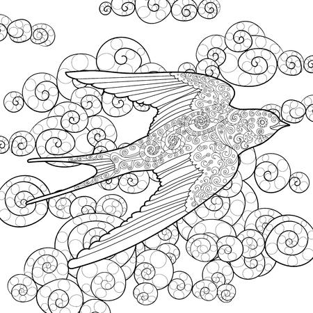 Glücklich schlucken in den Himmel mit hohen Details. Erwachsene Anti-Stress-Färbung Seite. Schwarz-Weiß-Hand Doodle Vogel gezeichnet. Skizze für Tätowierung, Plakat, Druck, T-Shirt