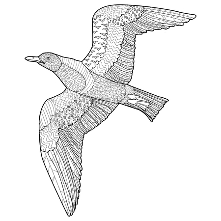 oceanic: Flying seagull with high details. Adult antistress coloring page. Black white hand drawn doodle oceanic bird. Sketch for tattoo, poster, print, t-shirt