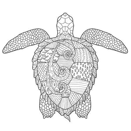 page curl: Sea turtle with high details. Adult antistress coloring page. Hand drawn doodle for art therapy. Sketch for tattoo, poster, print, t-shirt   Illustration