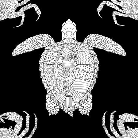 oceanic: Oceanic animals zentangle seamless pattern. Hand drawn tile texture with turtle and crab.Template for textile, wrapping or scrapbook paper print. Vector illustration. Illustration