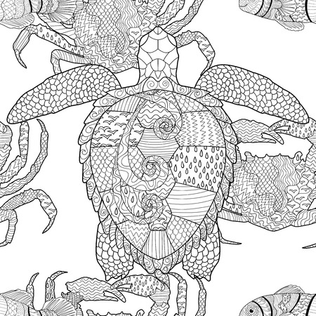 oceanic: Oceanic animals seamless pattern. Hand drawn tile texture with turtle, crab and clown fish.Template for textile, wrapping or scrapbook paper print. Vector illustration.