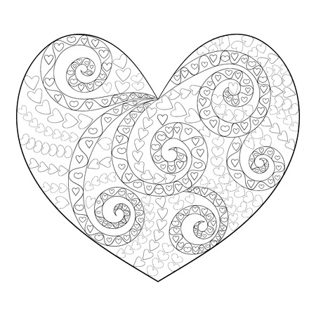 white heart: Cute heart with high details. Adult antistress coloring page. Black white hand drawn love sign for art therapy. Sketch for tattoo, greeting card, poster, print, t-shirt in zentangle style. Vector. Illustration