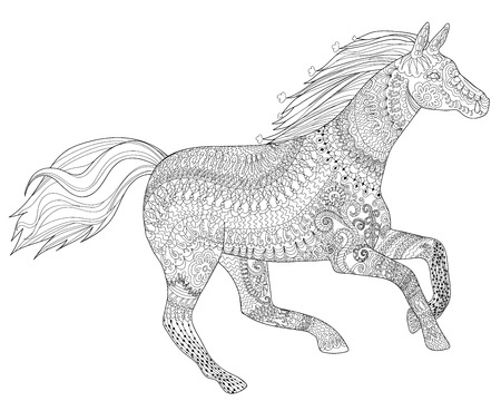 Adult coloring page for antistress art therapy. Running horse in zentangle style. Template for t-shirt, tattoo, poster or cover. Vector illustration.