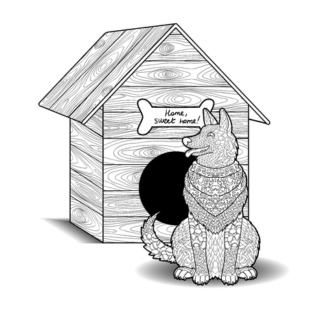 funny animals: Happy dog sits in front of the doghouse. Adult antistress or children coloring page. Hand drawn animal doodle. Sketch for tattoo, poster, print, t-shirt in style. Layered vector illustration