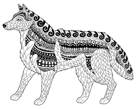 siluetas de animales: Husky siberiano con altos detalles. antiestrés para adultos o niños colorean la paginación con el perro. Dibujado a mano doodle del animal. Boceto para el tatuaje de impresión de carteles, camiseta en cuestión de estilo. ilustración vectorial