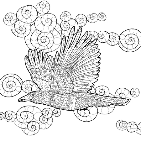 Flying raven with high details. Adult anti-stress coloring page with crow. Black white hand drawn doodle bird. Sketch for tattoo, poster, print, t-shirt in tracery style. Vector illustration. Illustration