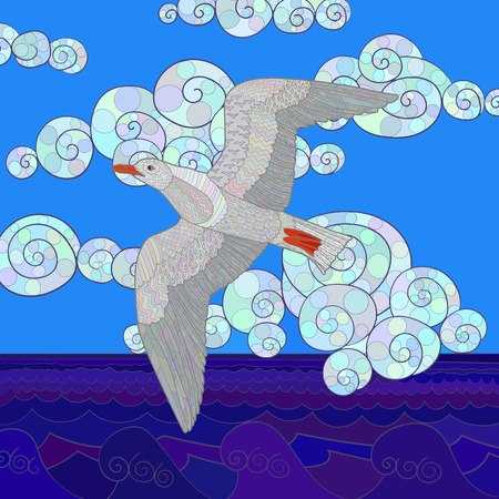 Gaviota Volando Con Altos Detalles. Color Dibujado A Mano Doodle De ...