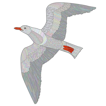 oceanic: Flying seagull with high details. Colored hand drawn doodle oceanic bird. Sketch for tattoo, poster, print, t-shirt in tracery style. Vector illustration.