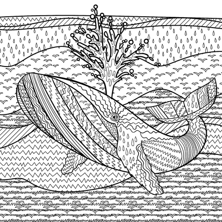 humpback: Hand drawn humpback whale in the waves for anti stress Coloring Page with high details, isolated on pattern background, illustration in tracery style. Vector monochrome sketch. Marine collection.