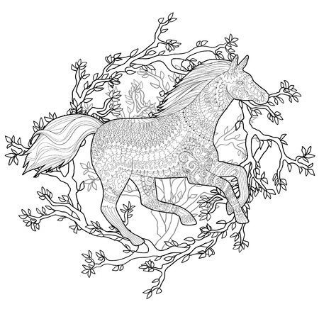 Adult coloring page for anti stress art therapy.