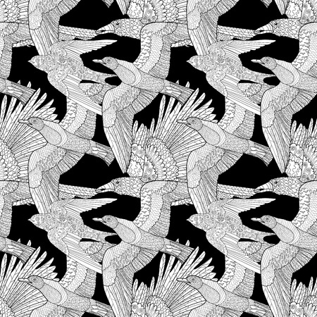 Seamless Pattern With Flying Ravenseagull And Swallow High Details Adult Anti