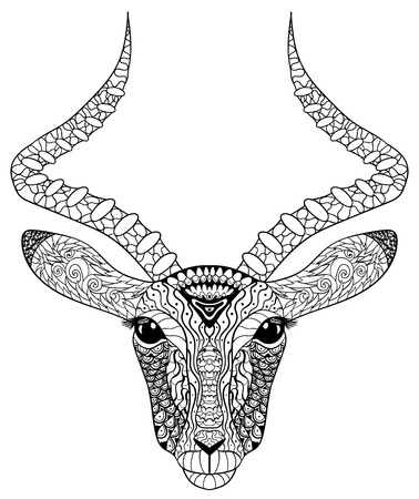 Adult Coloring Page For Antistress Art Therapy. Head Of The Antelope ...