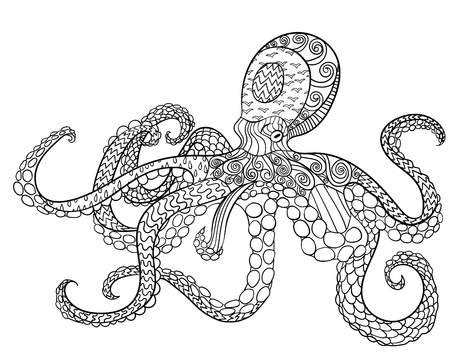 Octopus with high details. 向量圖像