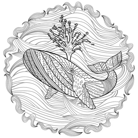 humpback: Hand drawn humpback whale in the waves for anti stress Coloring Page with high details