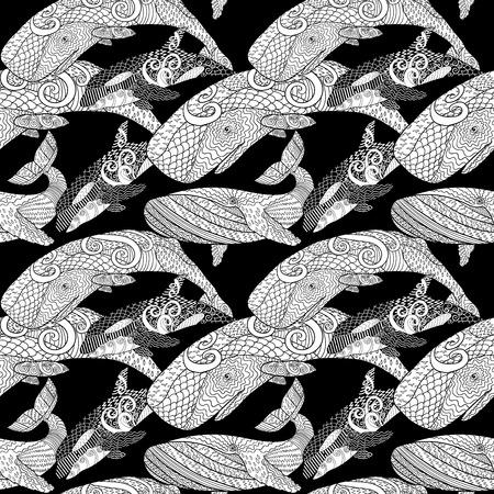 Gedetailleerde naadloze patroon met walvissen. Vector Illustratie