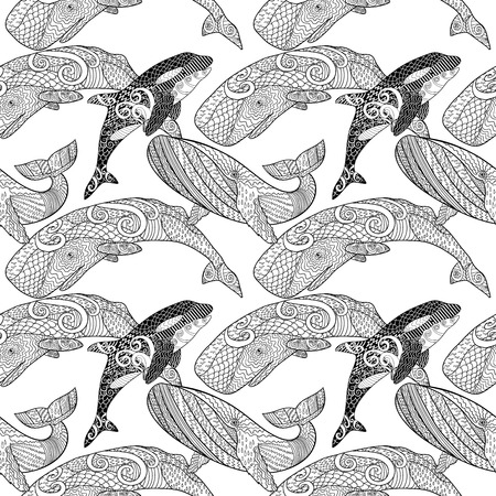 grown up: Detailed seamless pattern with whales. Illustration