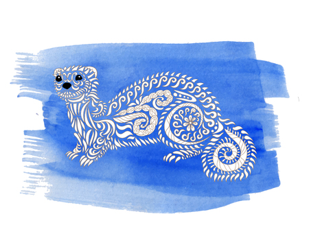 Hand drawn ferret on watercolor background. Coloring page for anti-stress art therapy. Black white hand drawn zendoodle animal. Sketch for poster, print, t-shirt. Vector illustration.