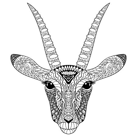 trot: Adult coloring page for antistress art therapy. Head of the antelope in style. Zendoodle template for t-shirt, tattoo, poster or cover. Vector illustration.