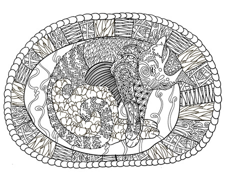 high detail: High detail illustration style. Adult coloring page for antistress art therapy. Sleeping cat in the basket. Template for t-shirt, tattoo, poster or cover. Vector illustration.