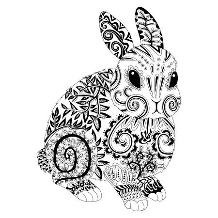 Haut détail à motifs de lapin dans le style. Coloriage adultes pour antistress art-thérapie. Modèle de t-shirt, tatouage, affiche. Vector illustration.